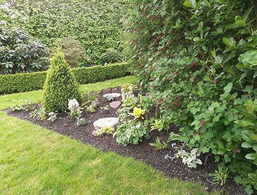 Trekantet bed med planter fra Kiekeberg. Her skal også lægges blomsterløg.
