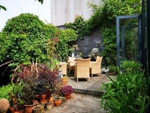 Terrasse ved drivhus i Eges Have
