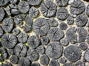 Mosaikbelægning af japansk trækul.