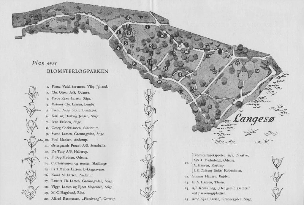 Oversigtskort over Langesø Blomsterløgpark 1958